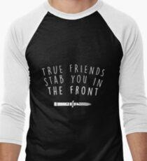 Camiseta ¾ bicolor para hombre verdaderos amigos te apuñalan de frente