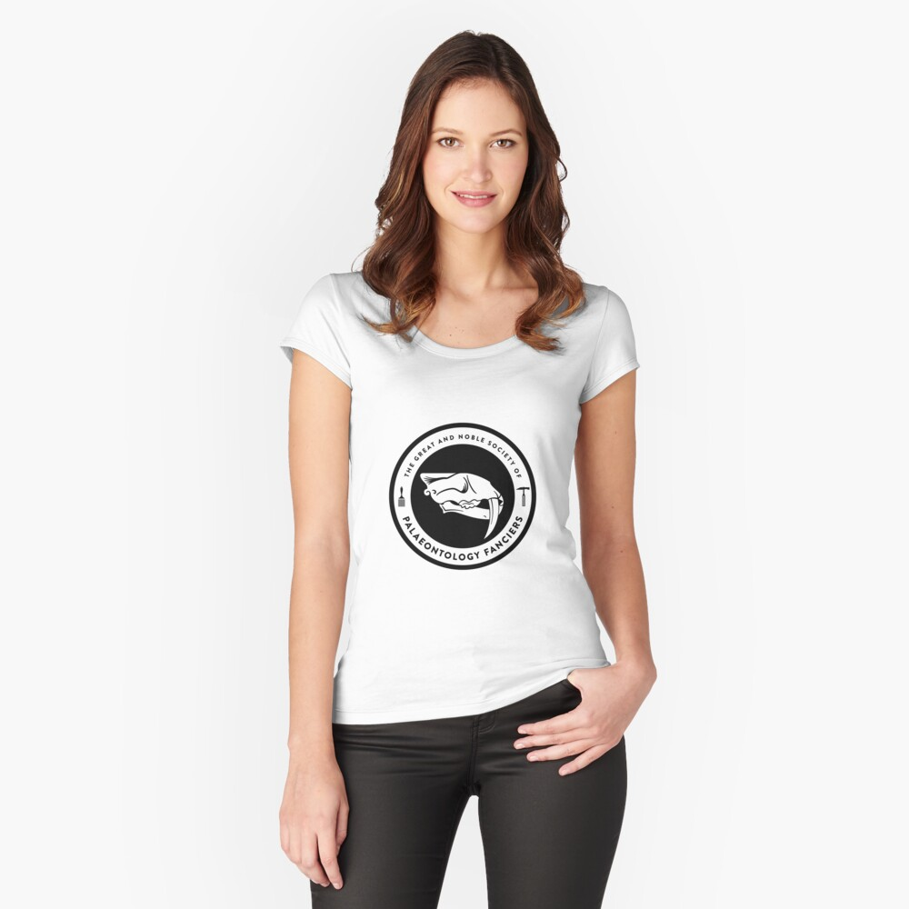 The Society of Palaeontology Fanciers (Black on Light) Women's Fitted Scoop T-Shirt Front