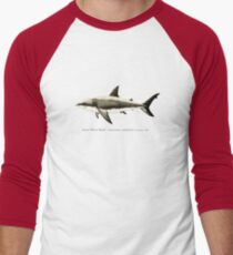Carcharodon carcharias by Amber Marine, great white shark illustration, art © 2015 Men's Baseball ¾ T-Shirt