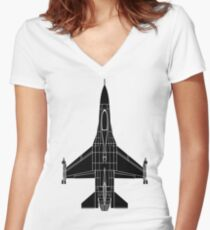 F-16 Fighting Falcon Black Women's Fitted V-Neck T-Shirt