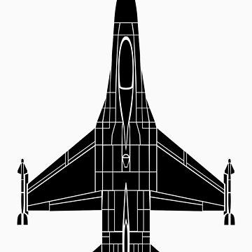 F-16 Fighting Falcon Black by jnmvinylstudio