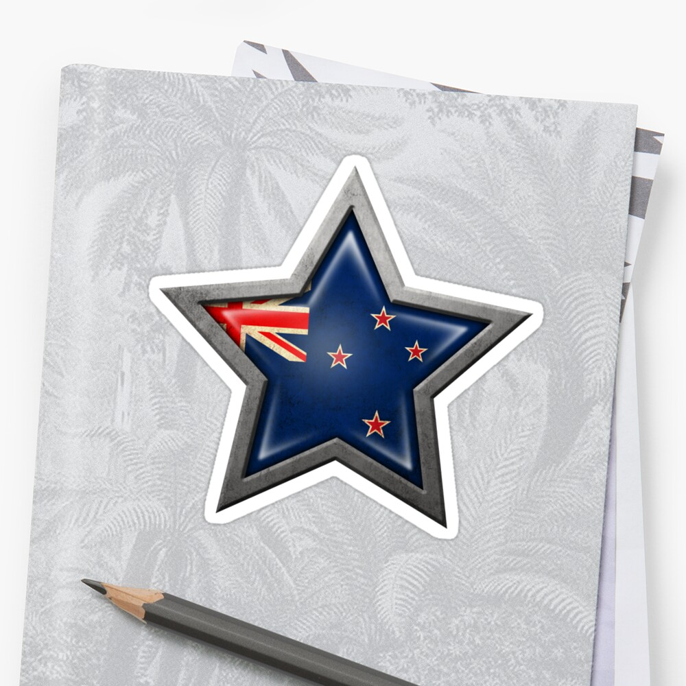 New Zealand Flag Inside of an Aged and Scratched Star by jeff bartels