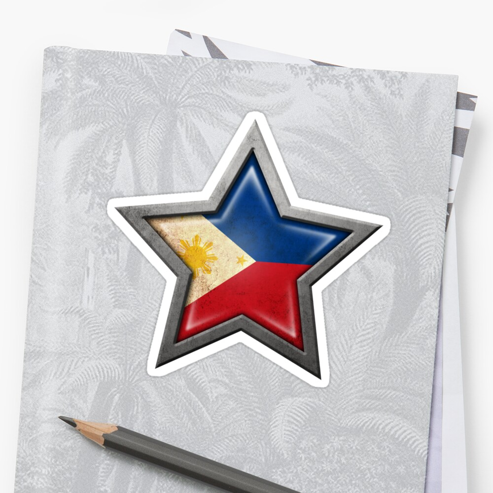 Filipino Flag Inside of an Aged and Scratched Star by jeff bartels