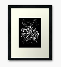 Down The Rabbit Hole (white) Framed Print