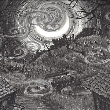 Moonlit Village by Sladeside
