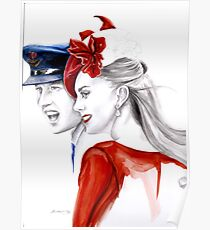 Prince William and Kate Middleton by Elina Sheripova Poster