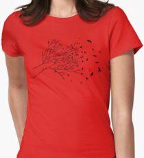 Tree Birds (Black & White) Women's Fitted T-Shirt