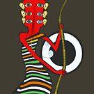 Guitar Head Banjo Player in Colors by juliethebruce
