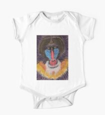 Artistic Freestyle Baboon Portrait with Red and Blue Face Kids Clothes