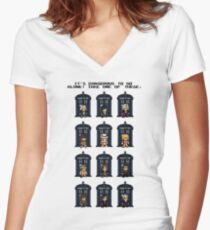 8-bit Doctor Who Women's Fitted V-Neck T-Shirt