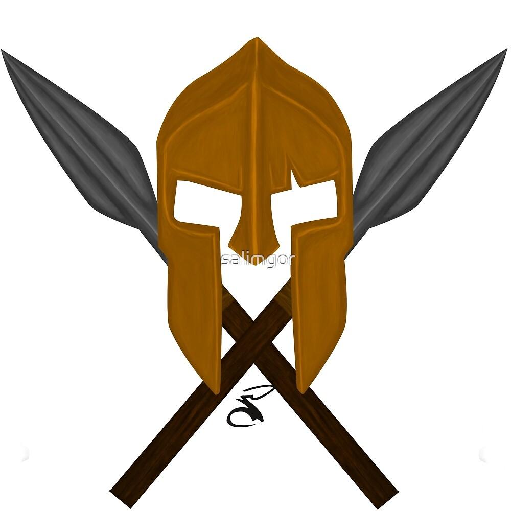 Spartan helmet crossed spears by salimgor