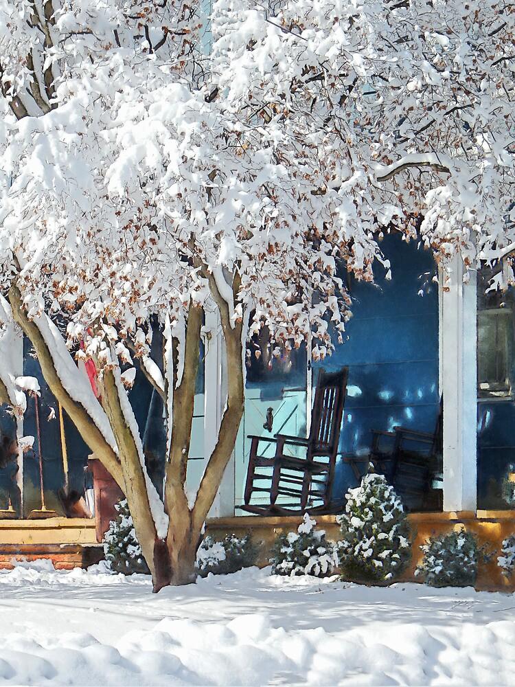 Rocking Chair on Porch in Winter by Susan Savad