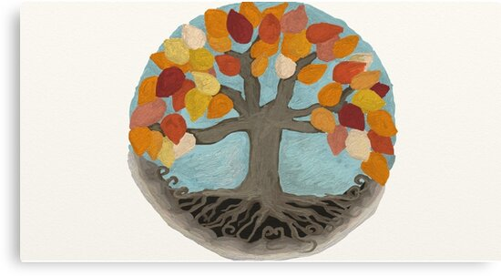 Golden Tree in Autumn Mandala Illustration by Lucie Rovná