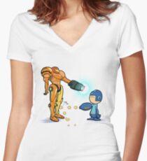 Samus Vs Mega Women's Fitted V-Neck T-Shirt