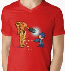 Samus Vs Mega Men's V-Neck T-Shirt