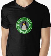 Tux : GNU/LINUX FREEDOM Men's V-Neck T-Shirt