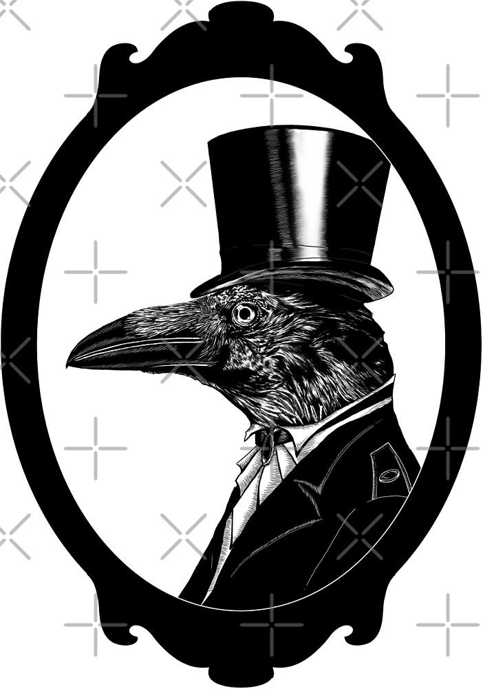 Raven in top hat by helenacooper