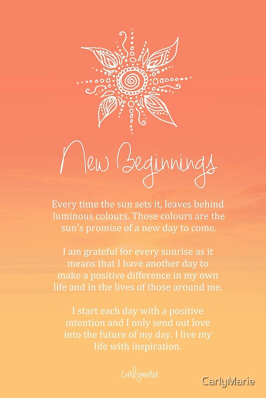 Quot Affirmation New Beginnings Quot By Carlymarie Redbubble
