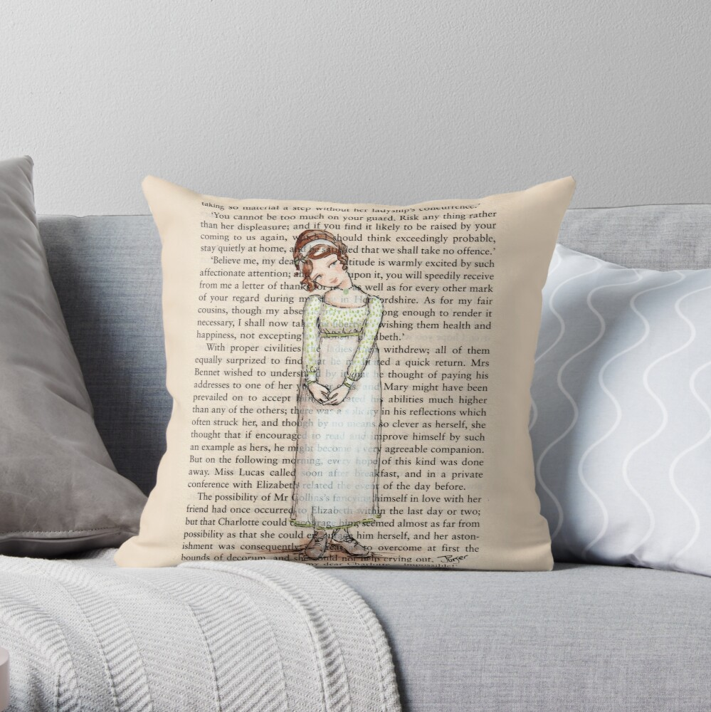 Pride and Prejudice - Elizabeth Bennet in White. Throw Pillow