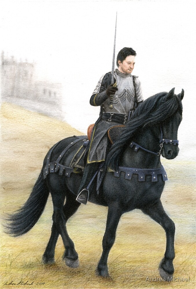 Joining the Warband - Knight on Friesian Horse by Andrea Michael
