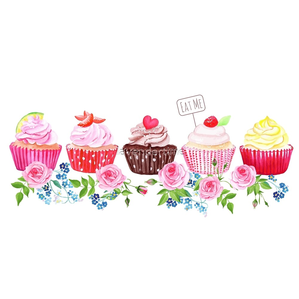 Colorful cupcakes with flowers vector design stripe by lavendertime