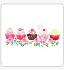 Colorful cupcakes with flowers vector design stripe Sticker
