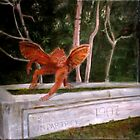 Winged Monkey on Horse Trough by Theresa Comstock