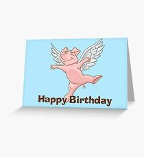 Flying Pig Birthday Card Grußkarte