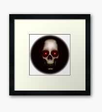 Evil skull with glowing red eyes Framed Print