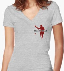 Beacon Hills High - Lacrosse (chest) Women's Fitted V-Neck T-Shirt