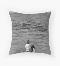 Girls at Sea Throw Pillow