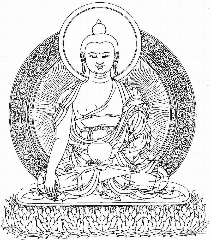 """Buddha Line Art Buddhist Zem Om Peace"" by juliazook ..."