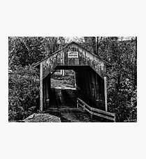 Grange City Covered Bridge - BW Photographic Print