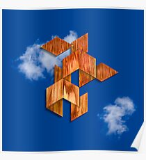 Cubed Flight in the Clouds Poster
