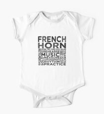 French Horn Typography Kids Clothes