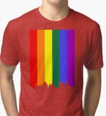 LGBT Gay Pride Rainbow Drip Paint Tri-blend T-Shirt