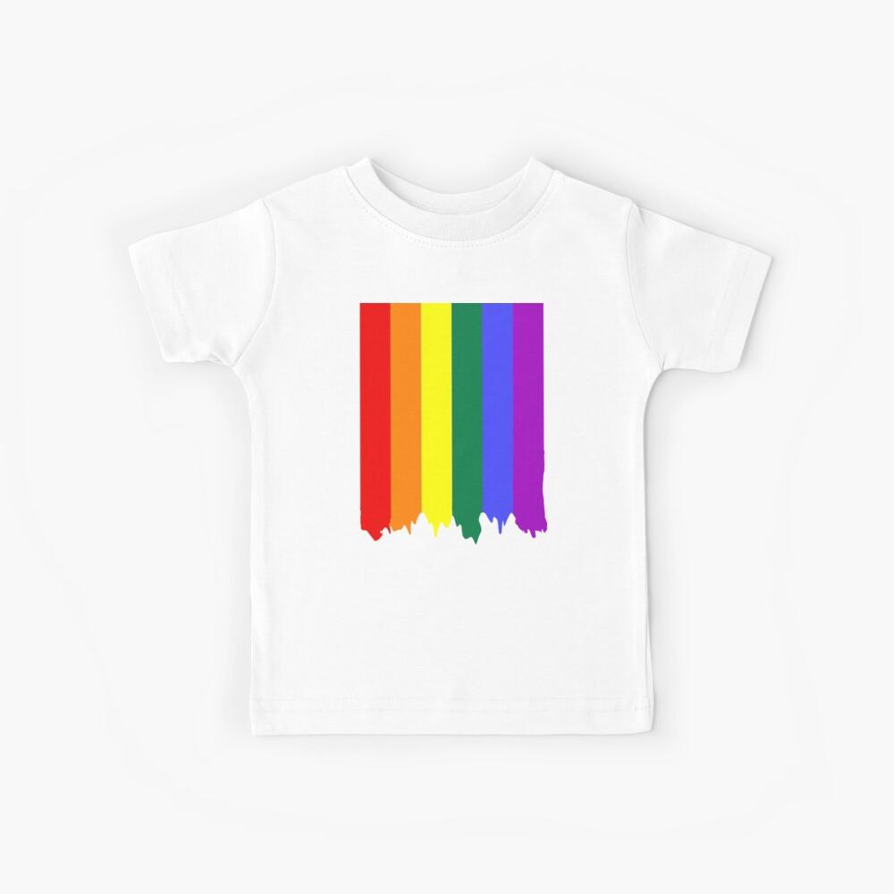 LGBT Gay Pride Rainbow Drip Paint Kids T-Shirt