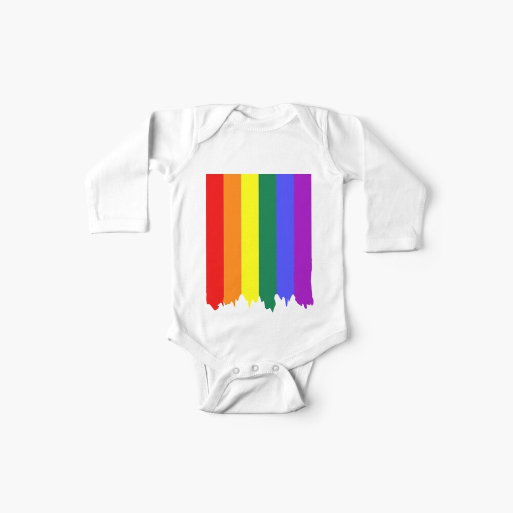 LGBT Gay Pride Rainbow Drip Paint Baby One-Pieces