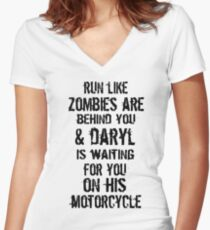 Run Like Daryl Is Waiting Women's Fitted V-Neck T-Shirt