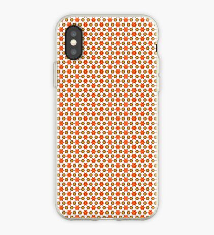 Orange Kitsch stars and spots pattern iPhone Case