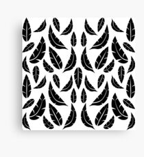 Black on White Modern Masculine Graphic Feather Pattern Canvas Print