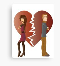 Couple with broken heart  Canvas Print