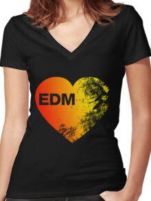 EDM Love Women's Fitted V-Neck T-Shirt
