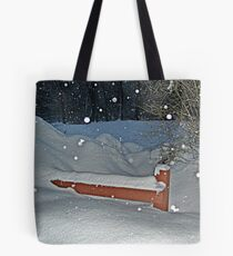 Snow All the Way To The Top Of the Fence Tote Bag