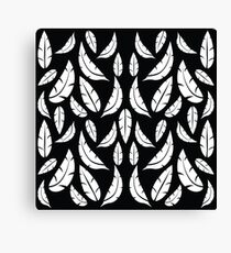 White on Black Modern Boho Tribal Graphic Feather Pattern Canvas Print