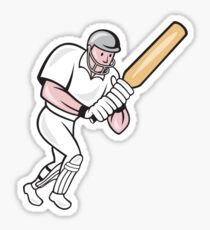 Cricket Player Batsman Batting Cartoon Sticker