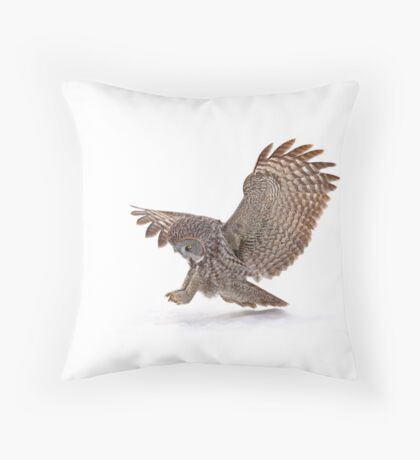 Once a pounce a time - Great Grey Owl Throw Pillow