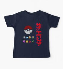 Cracked Pokeball and Badges Kanto version with Logo Baby Tee