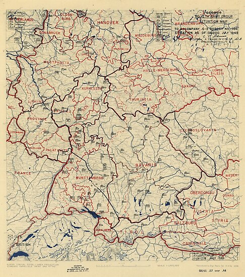 July 6 1945 World War II HQ Twelfth Army Group situation map by allhistory