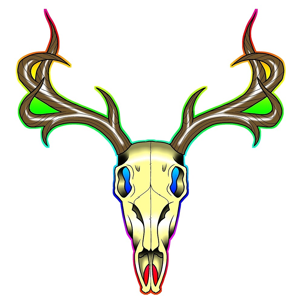 Neo-Traditional Deer Skull by BenjyyHart